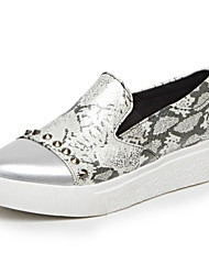 Women's Shoes Flat Heel Comfort / Round Toe Loafers Outdoor / Casual Black / Silver