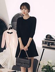 estilo coreano das mulheres casual / dia / vestido da bainha sólida simples, em torno do pescoço mini-lã / poliéster