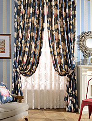(One Panel)Polyester Cotton Navy Bloom colorful Grape Flowers Print Room Darkening Curtain