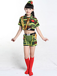 Jazz Outfits Children's Performance Cotton Pattern/Print 3 Pieces Short Sleeve Headpieces / Top / ShortsS:28cm M:30cm L:32cm XL:34cm