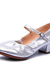 Women's Dance Shoes Heels Breathable Leather Low HeelGold/ Silver/Black