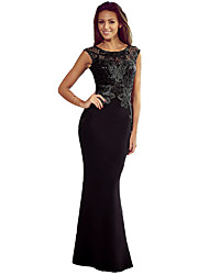 Women Long Dress Lace Hollow Out Open Back Zipper Bodycon Cocktail Evening Mermaid Dress