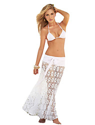 Women's Bandeau Cover-Ups , Solid One-Pieces Polyester White / Black