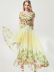 Women's Beach Plus Size / Chiffon Dress,Floral V Neck Maxi Short Sleeve Yellow Polyester Summer
