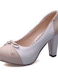 Women's Shoes Leatherette Chunky Heel Heels / Platform Heels Office & Career / Dress / Casual Blue / Pink / Beige