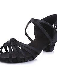 Women's / Kids' Dance Shoes Belly / Latin / Dance Sneakers / Modern / Flamenco / Samba Fabric Customized Heel Black