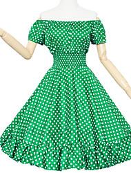 Maggie Tang Women's 50s Retro VTG One Shoulder Polka Dots Rockabilly Swing Dress 581
