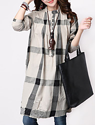Women's Check Blue / White / Yellow Slim Thin Blouse , Stand Asymmetric Two Ways Wear Long Sleeve Cotton / Linen