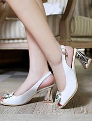 Women's Shoes Heel Heels / Peep Toe Sandals / Heels Office & Career / Dress / Casual Black / White / Gold