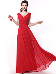 A-Line Straps Floor Length Chiffon Bridesmaid Dress with Criss Cross