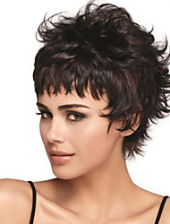 Fashional Women Black Color Lady Wavy Short Synthetic Hair Wigs