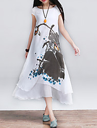 Women's Casual / Print / Ethnic Print Loose Thin Elegant Dress , Round Neck Midi False Two Cotton / Linen