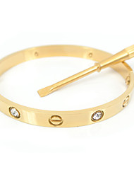 Classic 16CM Screw Titanium Steel Diamond Stone Inlay Bangle with the Same Color Screwdriver Jewelry Christmas Gifts