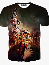 Herren T-shirt-Druck Freizeit / Sport Polyester Kurz
