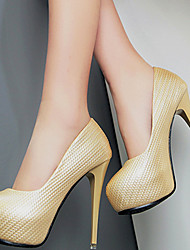Women's Shoes Synthetic Stiletto Heel Heels Heels Wedding /Office & Career / Party & Evening/Dress/Casual Black/Gold