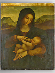 картина маслом мать ребенка сосание с ручной росписью холст с растянутыми рамку