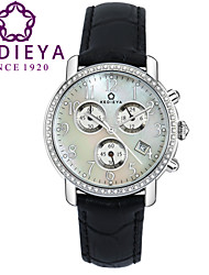 KEDIEYA Black Genuine Leather 60 Zircon Diamond Mosaic Calendar Date Chronograph Ladies Womens Watches Gifts Cool Watches Unique Watches