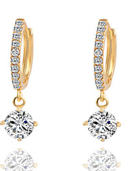 Women's Drop Earrings Costume Jewelry Brass Cubic Zirconia Silver Plated Jewelry For