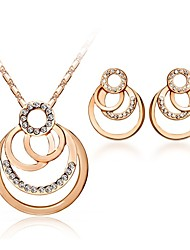 Jewelry Set Shining Crystal Elegant Circle Pendant Necklace Earring(Assorted Color)