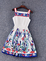 Women's Casual / Day / Holiday Jacquard Skater Dress,Strap Knee-length Cotton / Polyester
