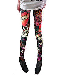Women's Skull Print Elastic Leggings