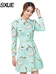 DLSXUE Women's Casual / Day / Beach Floral / Print A Line / Sheath Dress , Shirt Collar Above Knee Cotton / Polyester