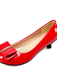Women's Shoes Patent Leather Kitten Heel Heels / Round Toe Heels Dress Black / Red / White