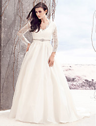 LAN TING BRIDE A-line Wedding Dress See-Through Court Train V-neck Lace Taffeta with Button Crystal Lace