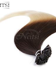 """neitsi 20 """"25s 1g / s de fusão da queratina u unha ponta reta ombre extensões de cabelo humano t2-60"""
