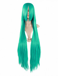 venda quente cor verde 100cm longo, cabelo liso perucas cosplay feminino anime