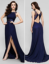 A-Line Jewel Neck Sweep / Brush Train Chiffon Prom Formal Evening Black Tie Gala Dress with Split Front by TS Couture®