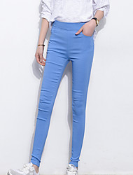 Women's Solid Blue / Pink / Black / Gray / Purple Skinny Pants,Casual Bodycon High waist Fashion Slim Thin Polyester