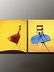 Ручная роспись АбстракцияModern 2 панели Холст Hang-роспись маслом For Украшение дома