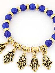 Women's New European Style Retro Trend Metal Palm Beaded Charm Bracelets