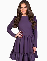 Women's Casual / Day Solid Skater Dress , Round Neck Above Knee Cotton