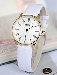 Женские Модные часы Кварцевый Кожа Группа Люкс Черный Белый Коричневый
