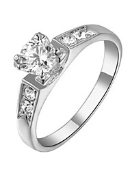HKTC Sparkling White Gold Plated 0.5ct Cubic Zirconia Diamond 4 prongs Wedding Rings for Women