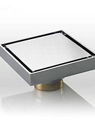 Square Shower Floor Drain with Tile Insert Grate Chrome Finish