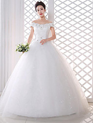 A-line Wedding Dress Floor-length Off-the-shoulder Lace / Satin with Flower / Lace