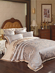 Floral Duvet Cover Sets 4 Piece Cotton Luxury Jacquard Cotton Queen King 4pcs (1 Duvet Cover, 1 Flat Sheet, 2 Shams)