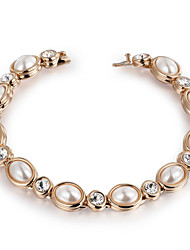 HKTC Noble Vintage Pearl Bead Charm Bracelets 18k Gold Plated Fashion Brand Wedding Jewelry