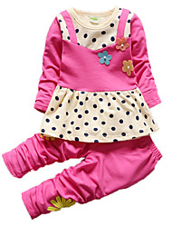 Girl's Blue / Green / Purple / Red Clothing Set Cotton Spring / Fall