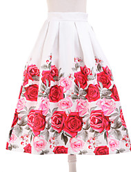 Women's Floral White Skirts,Simple Knee-length