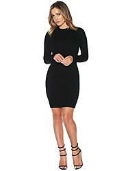 Women Dress Strap Backless Hollow Out Long Sleeve Bodycon Dress