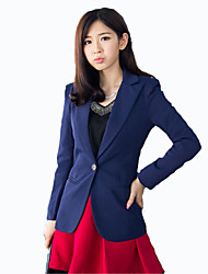 Women's Solid Blue / Red / Black / Yellow Blazer , Street chic V Neck Long Sleeve