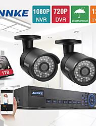 annke® 4ch sistema de circuito cerrado de televisión HDMI 720p AHD CCTV DVR 2pcs 1.0 cámaras de seguridad 1200 TVL sistema de vigilancia