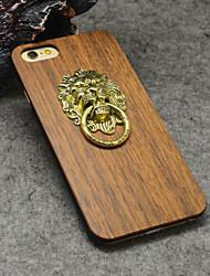 naturel porte lion heurtoir en bois de noyer avec support pour iphone 6s / iphone 6