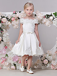 AMGAM A-line Tea-length Flower Girl Dress - Satin Off-the-shoulder with Bow(s) Sash / Ribbon