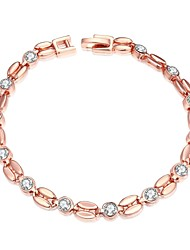 Sweet Generous Women's Diamante Gold Plated Tin Alloy Chain & Link Bracelet(Rose Gold, White)(1Pc)