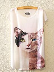 Damen Blumen Niedlich / Aktiv Lässig/Alltäglich T-shirt,Rundhalsausschnitt Alle Saisons Kurzarm Mehrfarbig Baumwolle Mittel